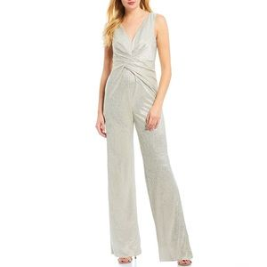 NWT Adrianna Papell White Gold Wrapped Knit Jumpsu